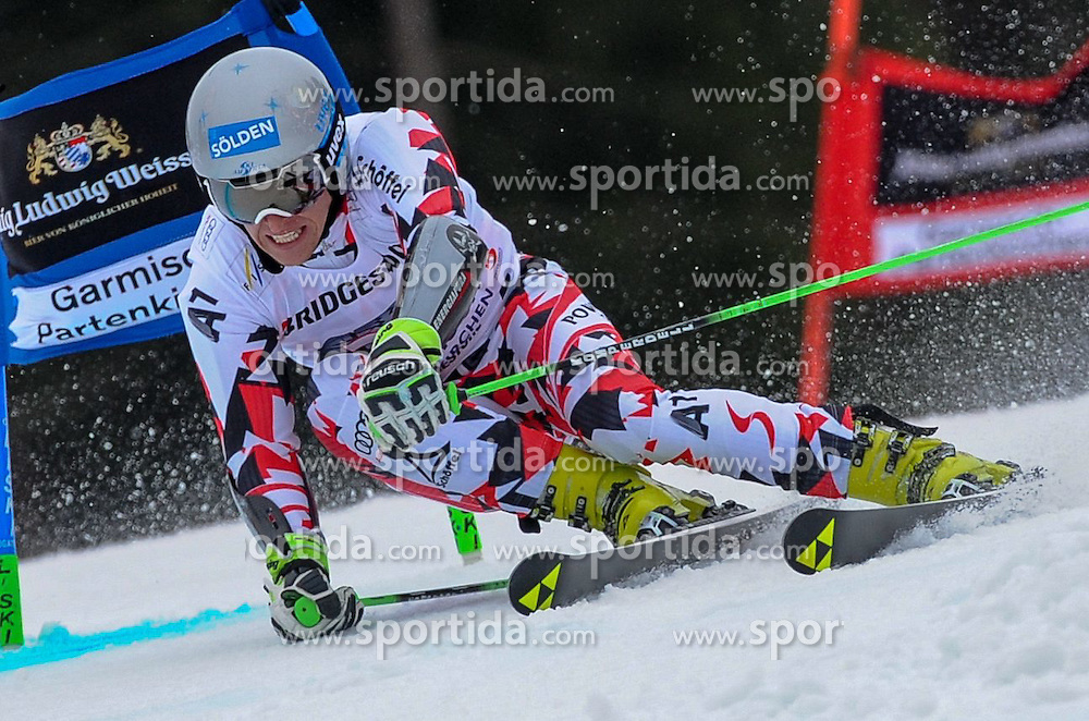 01.03.2015, Kandahar, Garmisch Partenkirchen, GER, FIS Weltcup Ski Alpin, Garmisch Partenkirchen, Riesenslalom, Herren, 1. Lauf, im Bild Christoph Noesig (AUT) // Christoph Noesig of Austria in action during 1st run for the men's Giant Slalom of the FIS Ski Alpine World Cup at the Kandahar in Garmisch Partenkirchen, Germany on 2015/03/01. EXPA Pictures © 2015, PhotoCredit: EXPA/ Erich Spiess