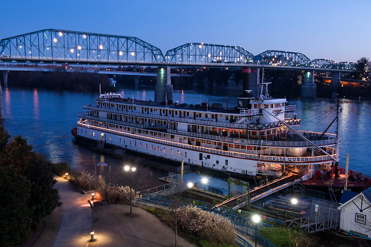 CHATTTANOOGA, TN - December 12, 2013: The Delta Queen, a historic riverboat that has been moored on the banks of the Tennesse River in Chattanooga since 2009 as a floating hotel, confronts an uncertain future. CREDIT: Virginie Drujon-Kippelen for the New York Times.