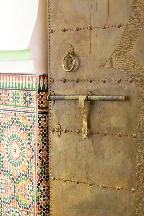 MARRAKESH, MOROCCO - 19TH APRIL 2016 - Metal doorway to the Zaouia / zawiya burial tomb shrine site of Sidi Abdullah al-Ghazwani, Marrakesh, Morocco.