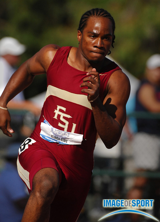 Walter Dix of Florida State wins 200-meter semifinal in 20.48 in the NCAA Track & Field Championships at Sacramento State's Hornet Stadium in Sacramento, Calif. on Thursday, June 7, 2007.