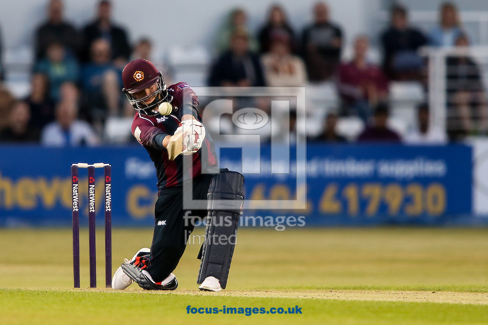 Josh Cobb of Northants Steelbacks hits the ball over the boundary for six during the Natwest T20 Blast match at the County Ground, Northampton<br /> Picture by Andy Kearns/Focus Images Ltd 0781 864 4264<br /> 05/06/2015