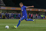 AFC Wimbledon striker Joe Pigott (39) taking penalty during the EFL Cup match between AFC Wimbledon and Milton Keynes Dons at the Cherry Red Records Stadium, Kingston, England on 13 August 2019.