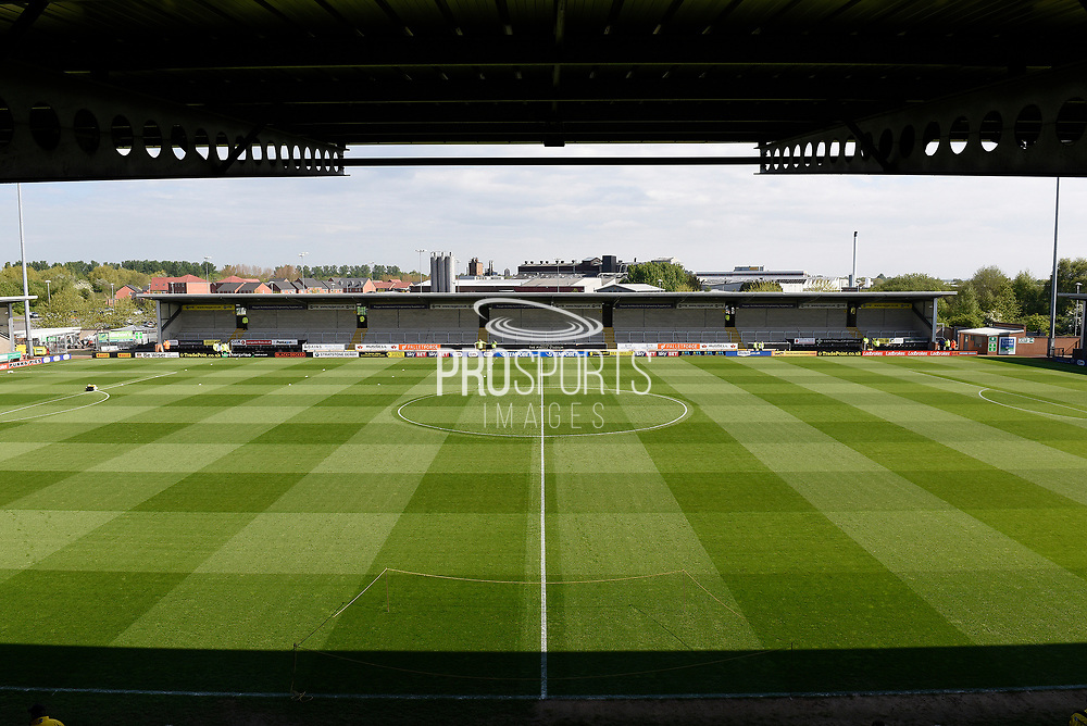 General view of the Pirelli Stadium during the EFL Sky Bet Championship match between Burton Albion and Reading at the Pirelli Stadium, Burton upon Trent, England on 7 May 2017. Photo by Richard Holmes.