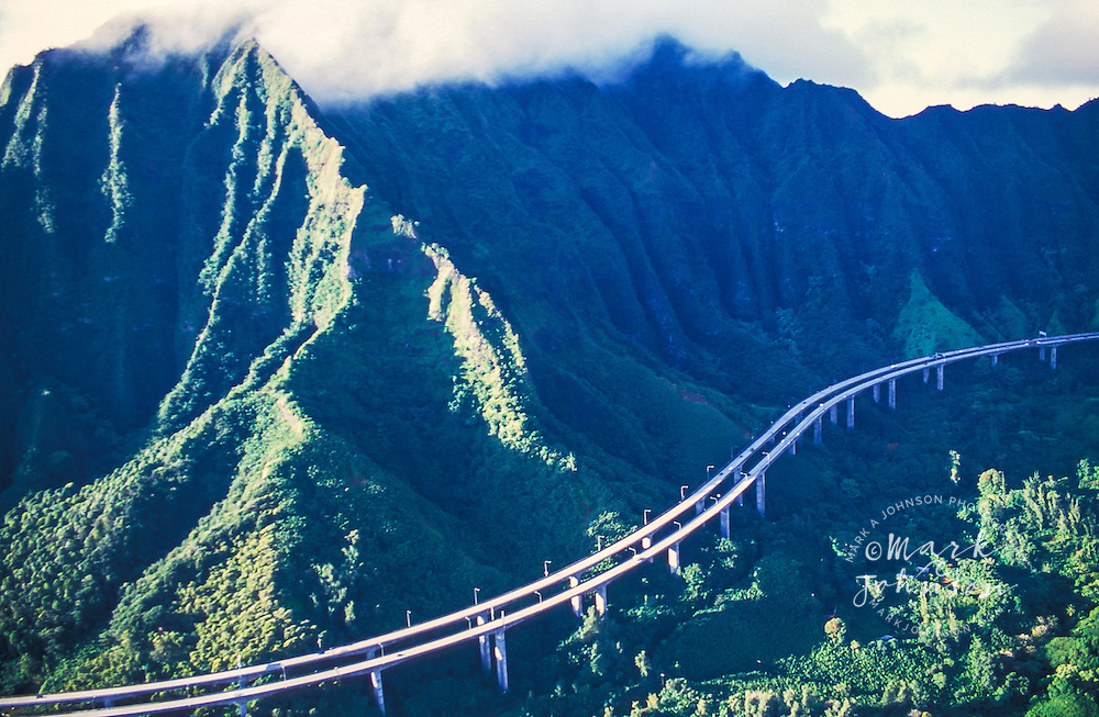 Aerial of H-3 Freeway through Haiku Valley, Koolau Mountains, Oahu, Hawaii