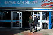 Conservative Party Conference, ICC, Birmingham, Great Britain <br /> Day 1<br /> 7th October 2012 <br /> <br /> <br /> Rt Hon David Cameron MP<br /> Leader of the Conservatives and the British Prime Minister arriving at the conference centre with his wife Samantha Cameron <br />  <br /> <br /> <br /> Photograph by Elliott Franks<br /> <br /> Tel 07802 537 220 <br /> elliott@elliottfranks.com<br /> <br /> ©2012 Elliott Franks<br /> Agency space rates apply