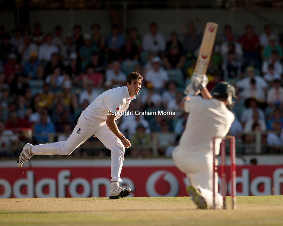 Steven Finn watches as he's driven for four by Shane Watson during the third Ashes test match between Australia and England at the WACA (West Australian Cricket Association) ground in Perth, Australia. Photo: Graham Morris (Tel: +44(0)20 8969 4192 Email: sales@cricketpix.com) 17/12/10