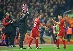 LIVERPOOL, ENGLAND - Wednesday, January 20, 2016: Liverpool's Jon Flanagan returns from injury as a substitute against Exeter City during the FA Cup 3rd Round Replay match at Anfield. (Pic by David Rawcliffe/Propaganda)