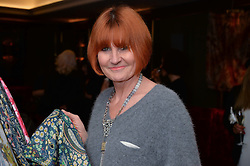 MARY PORTAS at a reception to launch an exclusive auction of hand-painted silk scarves by some of the UK's hottest designers in aid of Save The Children by Mary's Living & Giving shops, held at the May Fair Hotel, Stratton Street, London on 12th February 2014,