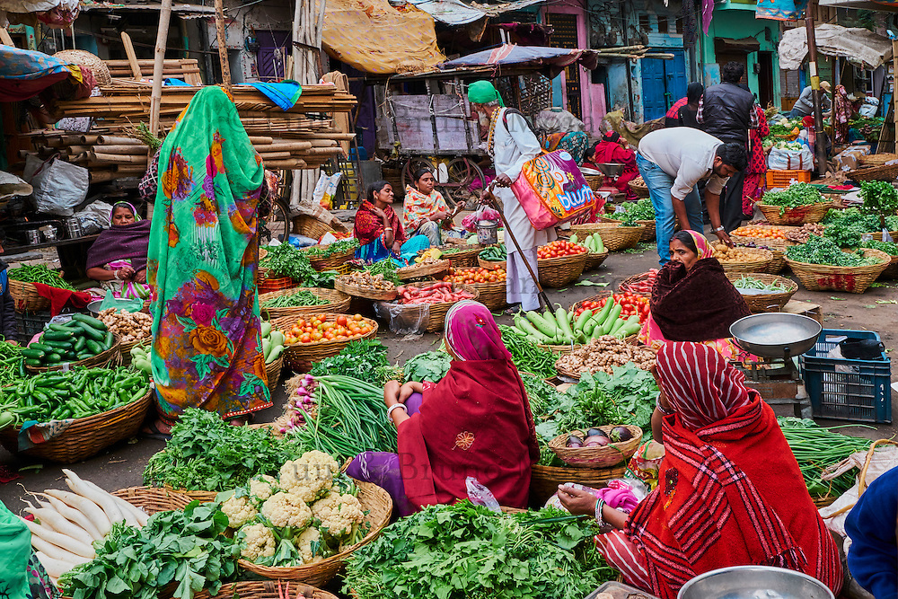 Inde, Rajasthan, Udaipur, marché au legume // India, Rajasthan, Udaipur, vegetable market