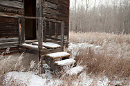 Steps to abandoned homestead in snow, Alberta prairies, Canada
