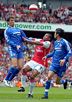Photo: Ed Godden/Sportsbeat Images.<br /> Arsenal v Chelsea. The Barclays Premiership. 06/05/2007.<br /> Arsenal's Julio Baptista is sandwiched between Chelsea players Paulo Ferreira (R) and Khalid Boulahrouz.