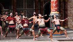 """© Licensed to London News Pictures. 23/04/2012. London, England. A """"Haka"""" is performed during the play Troilus & Cressida on Shakespeare's birthday by New Zealand's Ngakau Toa theatre company. The Globe to Globe Season begins at the Shakespeare's Globe Theatre with where 37 Shakespeare plays will be performed in 37 different languages.  Photo credit: Bettina Strenske/LNP"""