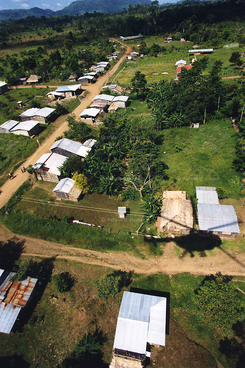 Nicaragua , San Pedro del Norte , February 1999 - On the Flying Hospital : aerial view of a village.<br /> <br /> <br /> Operation Smile is a private, not-for-profit volunteer medical services organization providing reconstructive surgery and related health care to indigent children worldwide.