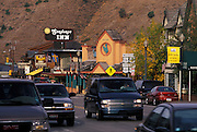 Shopping district surrounding town Square, Jackson, Wyoming. ..Subject photograph(s) are copyright Edward McCain. All rights are reserved except those specifically granted by Edward McCain in writing prior to publication...McCain Photography.211 S 4th Avenue.Tucson, AZ 85701-2103.(520) 623-1998.mobile: (520) 990-0999.fax: (520) 623-1190.http://www.mccainphoto.com.edward@mccainphoto.com...