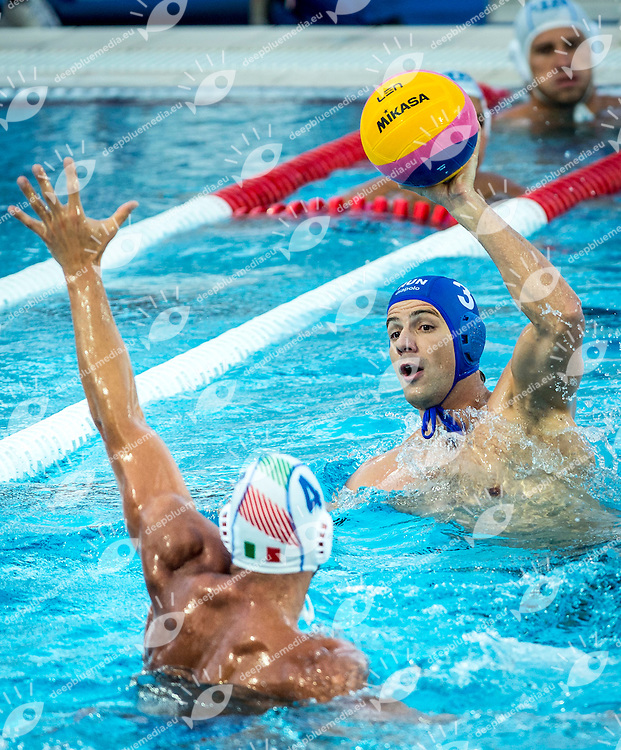 4 FIGLIOLI Pietro ITA<br /> 3 MADARAS Norbert HUN<br /> Italy (White) Vs Hungary (Blue) Men<br /> LEN European Water Polo Championships 2014 - July 14-27<br /> Alfred Hajos -Tamas Szechy Swimming Complex<br /> Margitsziget - Margaret Island<br /> Day12 - July 25<br /> Photo Andrea Staccioli/Inside/Deepbluemedia