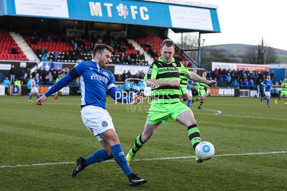 Forest Green Rovers Mark Ellis(5) and Macclesfield's Andy Halls battle for possesion during the FA Trophy match between Macclesfield Town and Forest Green Rovers at Moss Rose, Macclesfield, United Kingdom on 4 February 2017. Photo by Shane Healey.