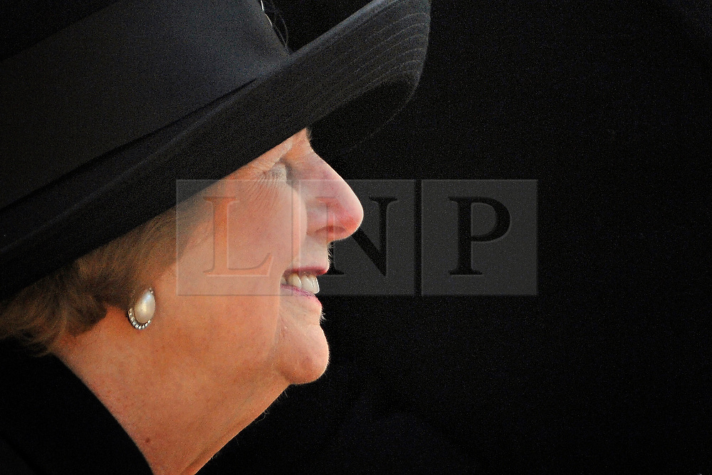 """UNITED KINGDOM - LONDON Margaret Thatcher attends the  Ceremony for the Memorial Gates at Hyde Park Corner to rename """"The Commonwealth Memorial Gates"""". The new name emphasises the appreciation given to the Commonwealth Nations who fought alongside Great Britain in two World Wars. The Memorial Gates, Constitution Hill, Hyde Park Corner, London, SW1. 05 MARCH 2010. STEPHEN SIMPSON Baroness Thatcher has died this morning follow a stroke, her spokesman Lord Bell says"""