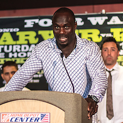 CARSON - MAY 31: Boxer Lateef 'Power' Kayode at Home Depot Center Press Conference. All fees must be ageed prior to publication,.Byline and/or web usage link must read PHOTO Eduardo E. Silva/SILVEX.PHOTOSHELTER.COM Failure to byline correctly will incur double the agreed fee.