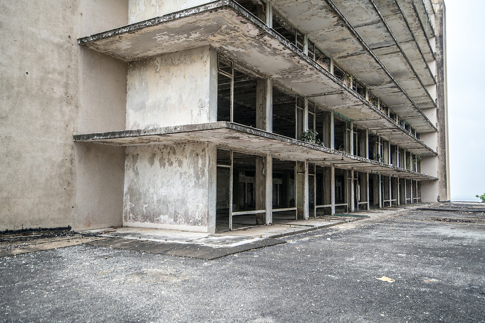 The exterior of the abandoned Ducor Hotel, once the most prominent hotels in Monrovia, Liberia