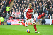 Arsenal Defender Nacho Monreal (18) in action during the Premier League match between Tottenham Hotspur and Arsenal at Wembley Stadium, London, England on 10 February 2018. Picture by Stephen Wright.