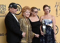 File photo dated 1/25/15 Todd Fisher, actress Debbie Reynolds, actress Carrie Fisher who has died at age 60