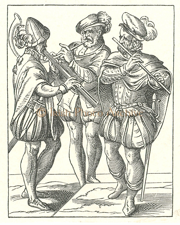 German musicians playing various wind instruments such as flute and horn. Woodcut by Jost Amman (1535-1591).