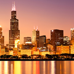 Chicago skyline at night with Willis Tower (formerly Sears Tower) one of the world's tallest buildings. Photo is high resolution and was taken in October 2011.