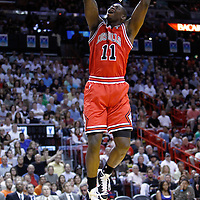 06 March 2010: Chicago Bulls shooting guard Ronnie Brewer (11) dunks the ball during the Chicago Bulls 87-86 victory over the Miami Heat at the AmericanAirlines Arena, Miami, Florida, USA.
