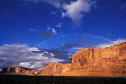 Rainbow over Mitchell Mesa, Mystery Valley, Navajo Tribal Park, AZ
