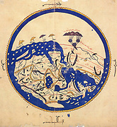 Copy made in Cairo in 1456 of the world map prepared by  the Arab geographer Muhammad al-Idrisi (1100-1165)  for Roger II (1095-1154) King of Sicily from 1130. In this map, North is at the bottom.