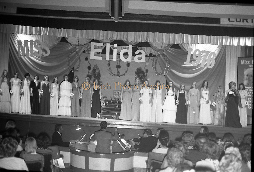 """""""Miss Elida"""" Final At Mosney, Co Meath..1976..01.09.1976..09.01.1976..1st September 1976..The final of the """"Miss Elida"""" lovely hair competition was held in The Gaiety Theatre,Butlins Holiday Centre,Mosney,Co Meath tonight. The competition is sponsored by Lever Bros,Sheriff St,Dublin. The shows compere was Mr Mike Murphy..Image shows the contestants taking their place on the stage of the Gaiety Theatre."""