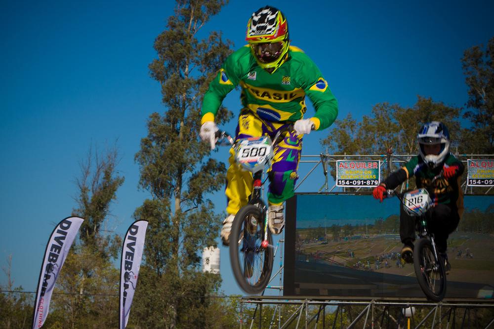 # 500 (REZENDE Renato) BRA and  # 216 (DODD Kyle) RSA at the UCI BMX Supercross World Cup in Santiago del Estero, Argintina.