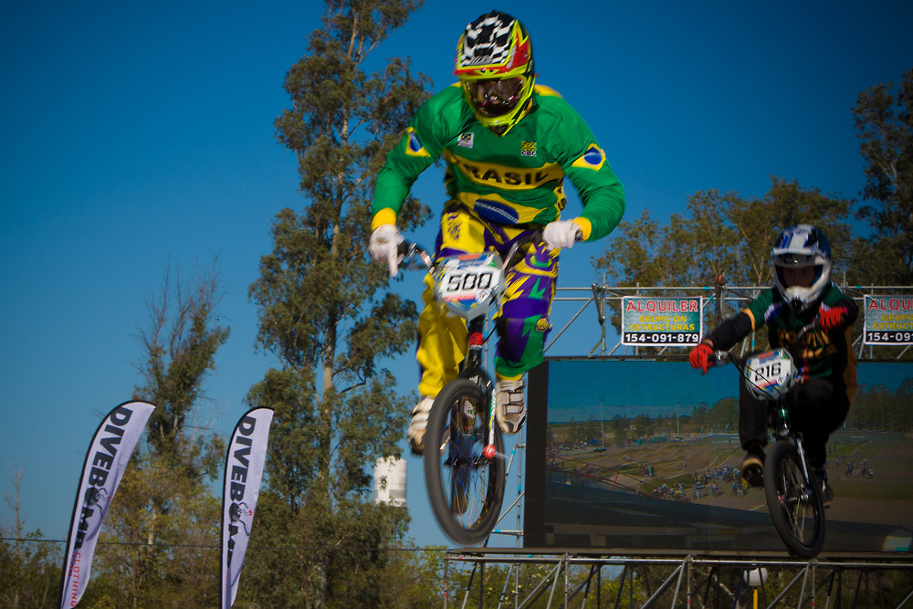 # 500 (REZENDE Renato) BRA and  # 216 (DODD Kyle) RSA at the UCI BMX Supercross World Cup in Santiago del Estero, Argintina.