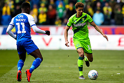 Jamal Lewis of Norwich City takes on Gavin Massey of Wigan Athletic - Mandatory by-line: Robbie Stephenson/JMP - 14/04/2019 - FOOTBALL - DW Stadium - Wigan, England - Wigan Athletic v Norwich City - Sky Bet Championship