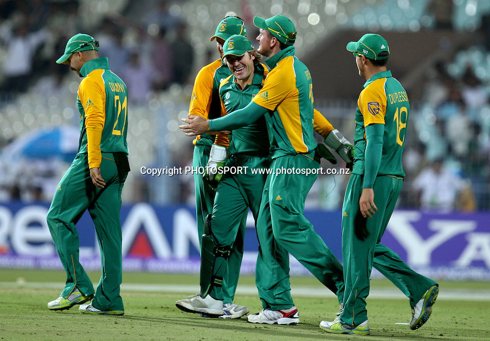 South African players celebrates after wo the match against during the ICC Cricket World Cup - 34th Match, Group B South Africa vs Ireland Played at Eden Gardens, Kolkata, 15 March 2011 - day/night