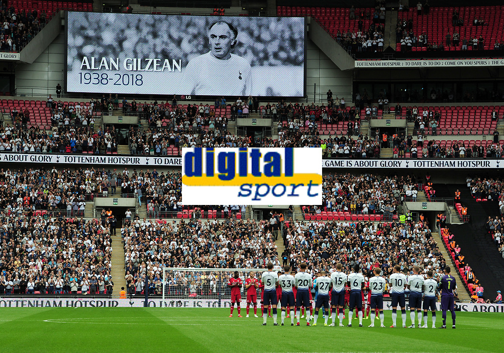 Football - 2018 / 2019 Premier League - Tottenham Hotspur vs. Fulham<br /> <br /> Players stand for a minutes applause for Spurs Legend Alan Gilzean, at Wembley Stadium.<br /> <br /> COLORSPORT/ANDREW COWIE
