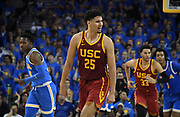 Feb 28, 2019; Los Angeles, CA, USA; Southern California Trojans forward Bennie Boatwright (25) celebrates after a 3-point basket against the UCLA Bruins in the second half at Pauley Pavilion. UCLA defeated USC 93-88 in overtime.