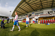 Andrei Savinov, Oleg Oznobikhin & their team mates head out onto the St Mirren pitch ahead of the U17 European Championships match between Scotland and Russia at Simple Digital Arena, Paisley, Scotland on 23 March 2019.