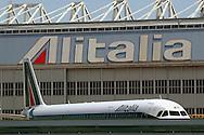 """Rome, Italy 28/04/2004: Airplane of the Italian airline company """"Alitalia"""", Fiumicino Airport """"Leonardo da Vinci"""".©Andrea Sabbadini"""