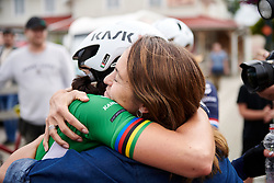 Virtu Cycling DS, Carmen Small celebrates the win with Marta Bastianelli (ITA) during Postnord UCI WWT Vårgårda WestSweden Road Race, a 145.3 km road race in Vårgårda, Sweden on August 18, 2019. Photo by Sean Robinson/velofocus.com