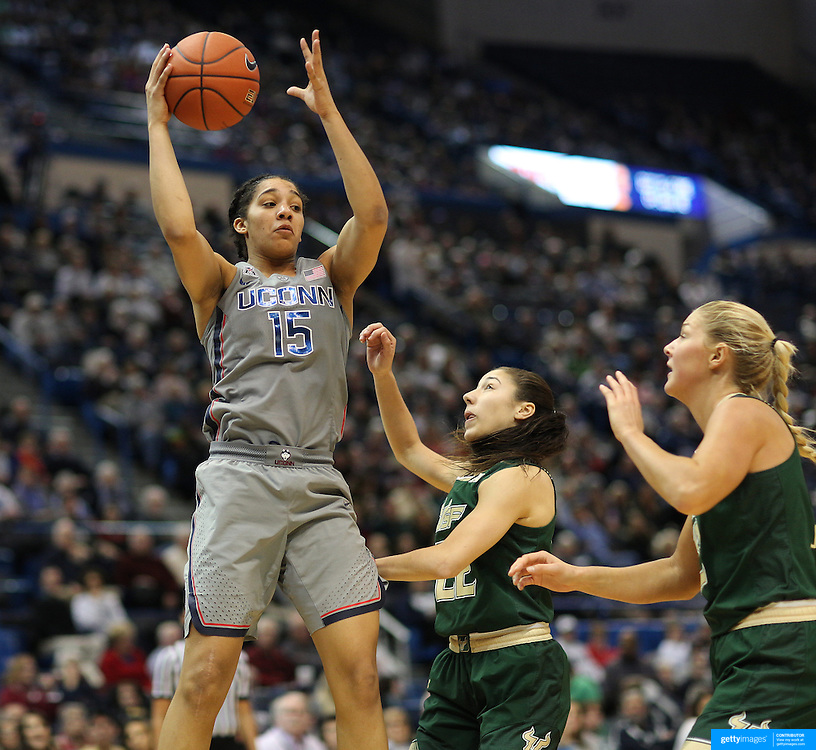 HARTFORD, CONNECTICUT- JANUARY 10: Gabby Williams #15 of the Connecticut Huskies rebounds while challenged by Laia Flores #22 of the South Florida Bulls and Maria Jespersen #12 of the South Florida Bulls during the the UConn Huskies Vs USF Bulls, NCAA Women's Basketball game on January 10th, 2017 at the XL Center, Hartford, Connecticut. (Photo by Tim Clayton/Corbis via Getty Images)
