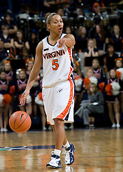 Virginia guard Sharnee Zoll (5) in action against Maryland.  The Virginia Cavaliers women's basketball team fell to the #4 ranked Maryland Terrapins 74-62 at the John Paul Jones Arena in Charlottesville, VA on January 18, 2008.