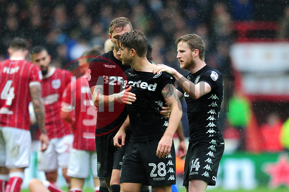 Gaetano Berardi of Leeds United is calmed down by his team mates - Mandatory by-line: Dougie Allward/JMP - 21/10/2017 - FOOTBALL - Ashton Gate Stadium - Bristol, England - Bristol City v Leeds United - Sky Bet Championship