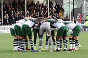 The Celtic player in a huddle prior to the Ladbrokes Scottish Premiership match between Hamilton Academical FC and Celtic at New Douglas Park, Hamilton, Scotland on 24 November 2018. Pic Mick Atkins