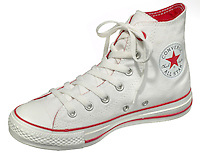 red and white converse high top shoe
