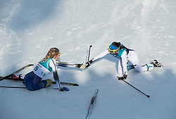 February 25, 2018 - Pyeongchang, South Korea - Silver medal winner Krista Parmakoski of Finland, right, reaches out to bronze medal winner Stina Nilsson of Sweden during the Ladies Cross Country Skiing Mass Start 30k at the PyeongChang 2018 Winter Olympic Games at Alpensia Cross-Country Skiing Centre on Sunday February 25, 2018. (Credit Image: © Paul Kitagaki Jr. via ZUMA Wire)