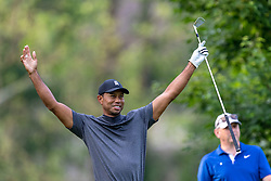 May 29, 2019 - Dublin, Ohio, U.S. - Tiger Woods reacts after playing his shot from the fourth tee during the Pro-Am of the Memorial Tournament presented by Nationwide at Muirfield Village Golf Club. (Credit Image: © Adam Lacy/Icon SMI via ZUMA Press)