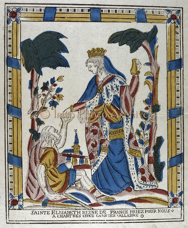 St Elizabeth of Hungary (1207-1231) giving alms to a beggar.  After the death of her husband Louis IV, Landgrave of Thuringia, Germany (d1227) from plague while on crusade, she joined the Franciscan order and cared for the poor. 19th century French coloured woodcut.