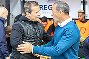 Forest Green Rovers manager, Mark Cooper and Cambridge United manager Colin Calderwood during the EFL Sky Bet League 2 match between Cambridge United and Forest Green Rovers at the Cambs Glass Stadium, Cambridge, England on 7 September 2019.