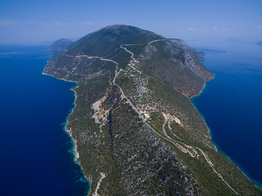 Aerial image of a narrow part of Ithaca island, Greece